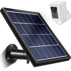 Skylety Solar Panel with Security Wall Mount Compatible with Ring Spotlight Cam Only, 5 m/ 16.4 ft Cable with Barrel Connector, 5 V/ 3.5 W (Max) Output, without CAM, Black