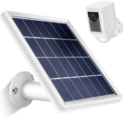 Skylety Solar Panel with Security Wall Mount Compatible with Ring Spotlight Cam Only, 5 m/ 16.4 ft Cable with Barrel Connector, 5 V/ 3.5 W (Max) Output, without CAM, White
